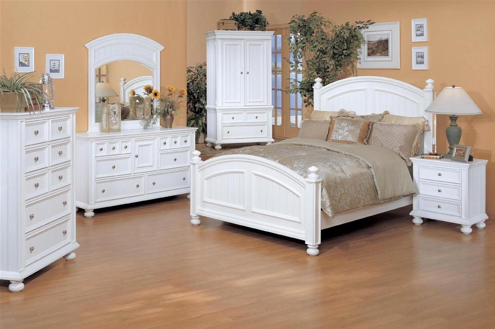 Shown with Three Drawer Nightstand, Six Drawer Dresser and Landscape Mirror Combo, Five Drawer Chest, and Armoire from the Cape Cod collection