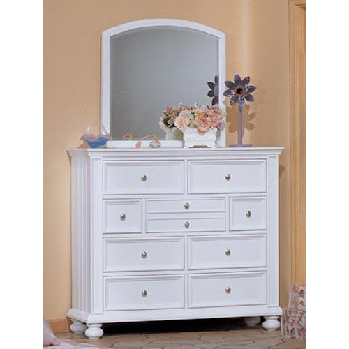 Winners Only Cape Cod  Youth Tall 9 Drawer Dresser and Mirror Combination
