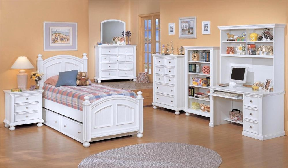 Shown with Twin Trundle Bed, Three Drawer Nightstand, Five Drawer Chest, Youth Bookcase, and Youth Desk and Hutch from the Cape Cod collection