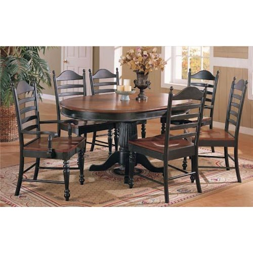 Winners Only Cottage 8 Piece Single Pedestal Table and Ladderback Chairs