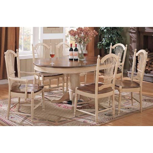 Winners Only Cottage 8 Piece Single Pedestal Table and Sheaf Back Chair Set