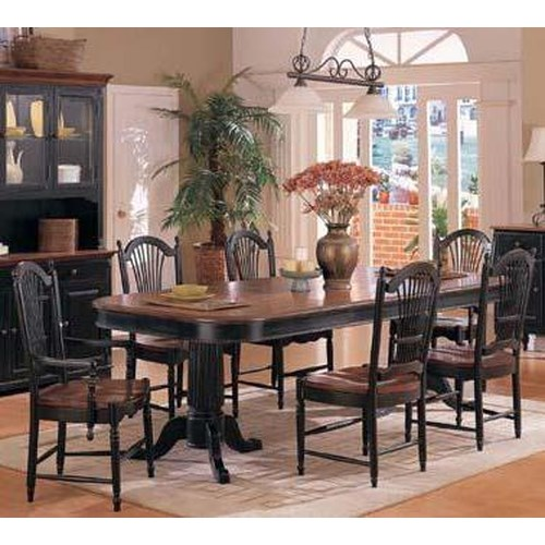 Winners Only Cottage 8 Piece Double Pedestal Table and Sheaf Back Chair Set