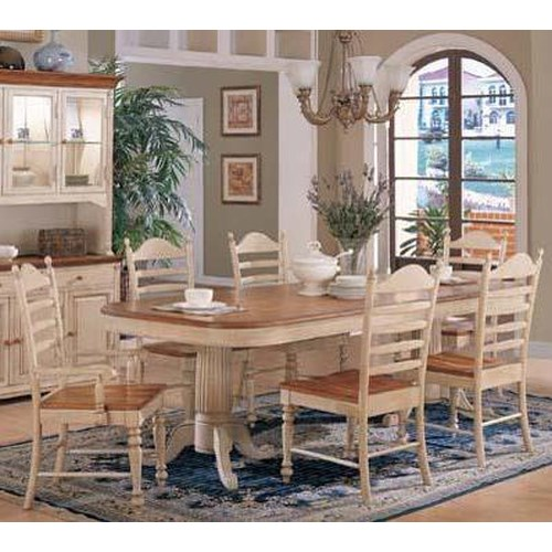 Winners Only Cottage 8 Piece Double Pedestal Table and Ladderback Chair Set
