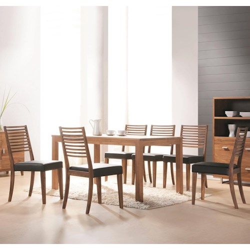 Winners Only Denmark 7 Piece Dining Set with Ladder Back Side Chairs