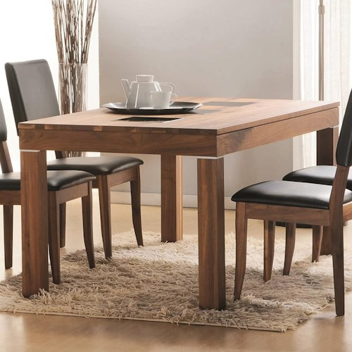 Winners Only Denmark Leg Table with Tempered Glass Inserts