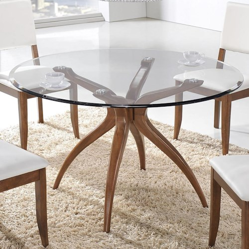 Winners Only Denmark Round Glass Table with Splayed Pedestal Base