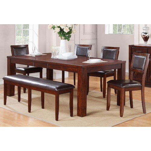 Winners Only Fallbrook 6 Piece Dining Set with Upholstered Bench