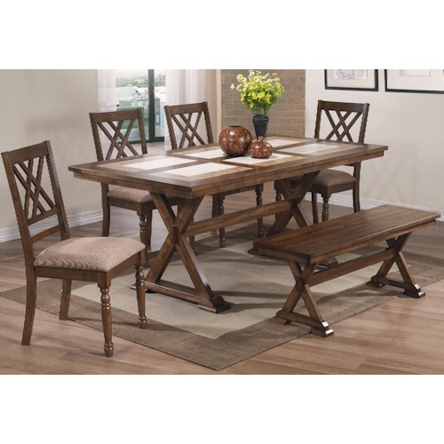 Winners Only Florence 6 Piece Dining Set with Bench and X Motif