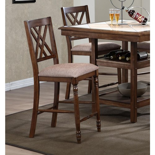 Winners Only Florence Double X Back Barstool with Upholstered Seat