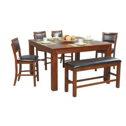 Winners Only Franklin 6 Piece Tall Table, Tall Bench & Cushioned Barstool Set