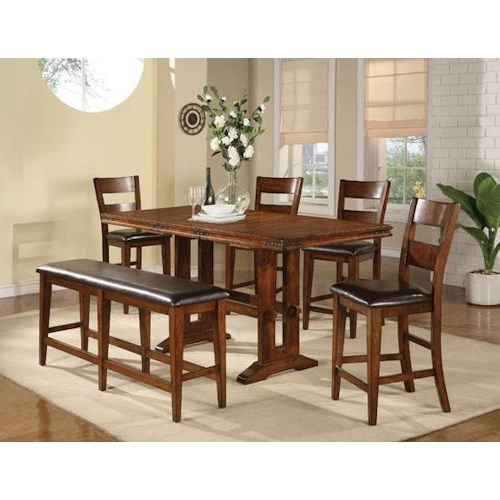 Winners Only Mango 6 Piece Trestle Table, Bench and Chair Set