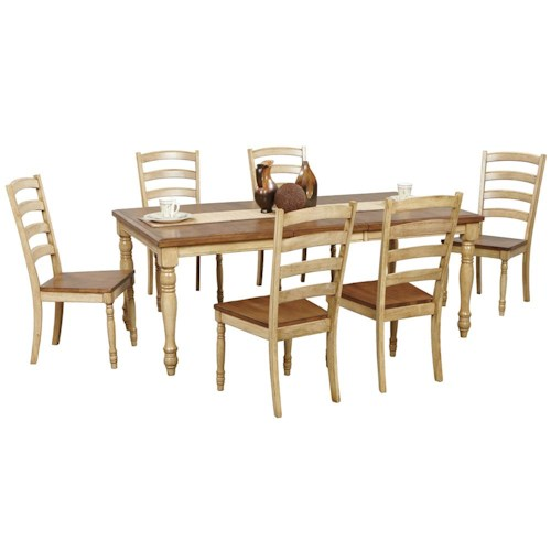 Winners Only Quails Run 7 Piece Turned Leg Table and Ladderback Chair Set