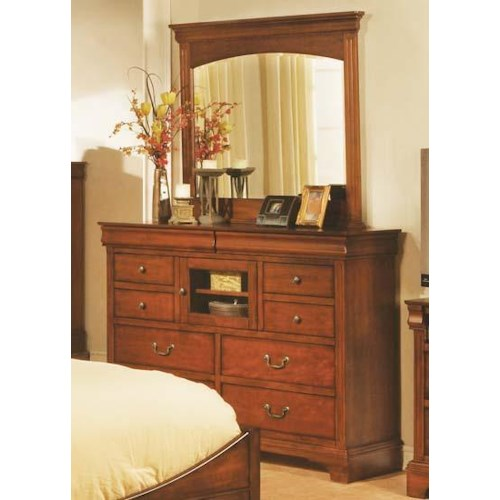 Winners Only Renaissance Ten Drawer Tall Dresser and Landscape Mirror