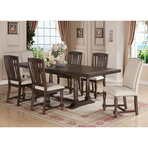 Winners Only Xcalibur 7 Piece Trestle Table and Upholstered Chair Set