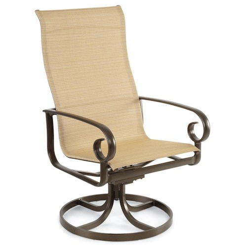 Winston Veneto-Sling Ultimate High Back Sling Rocking Dining Chair with Scrolled Arms