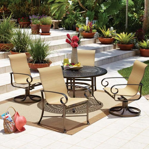 Winston Veneto-Sling Five Piece Outdoor Dining Set with Cast Iron Table and Sling Chairs