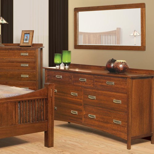 Witmer Furniture Heartland 9-Drawer Dresser with Mirror