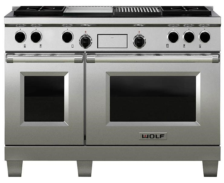 Wolf 48u0026quot; Freestanding Dual Fuel Range with Double Oven, 4 Burners, Charbroiler, and Griddle ...