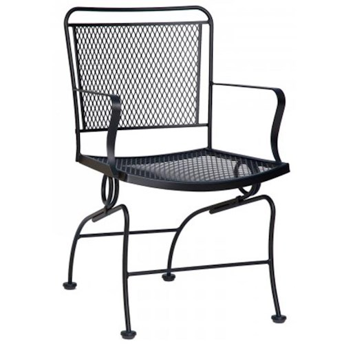 Woodard Constantine Coil Spring Outdoor Arm Dining Chair