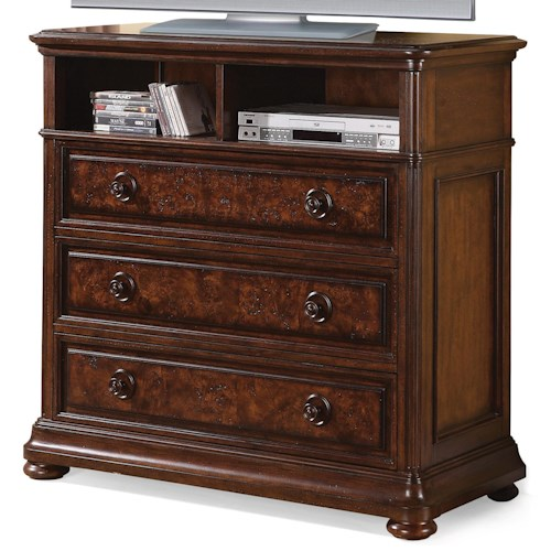 Flexsteel Wynwood Collection Aberdeen Media Chest With 2 Open Compartments