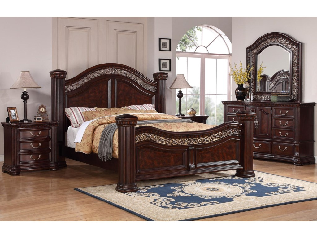 Shown with Nightstand and Dresser with Mirror. Flexsteel Wynwood Collection Alicante King Mansion Bed with