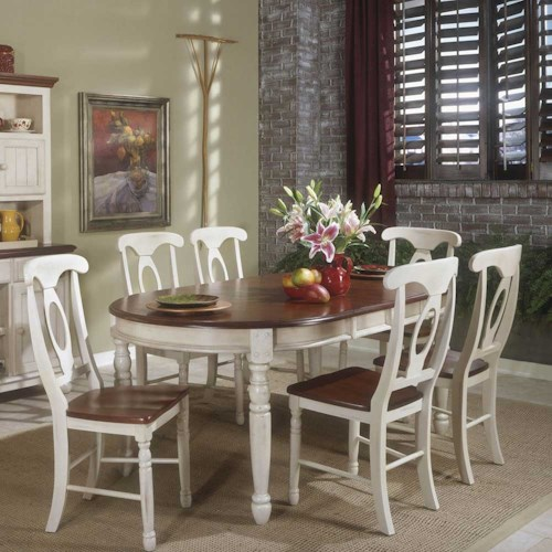 Aamerica british isles buttermilk oval leg table dinette for Dining room tables home depot