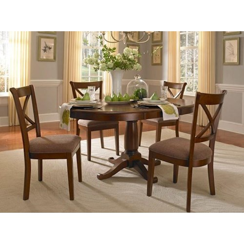 Aamerica Desoto 5 Piece Oval Pedestal Table And Side Chair