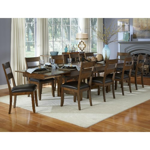 Aamerica mariposa 11 piece trestle table and ladderback for 11 piece dining table set