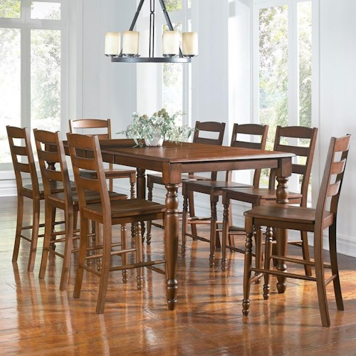 Aamerica roanoke 9 piece counter height dining table for 9 piece dining room set counter height
