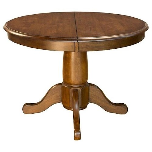 AAmerica Roanoke Oval Single Pedestal Dining Table With Extension Leaf Valu