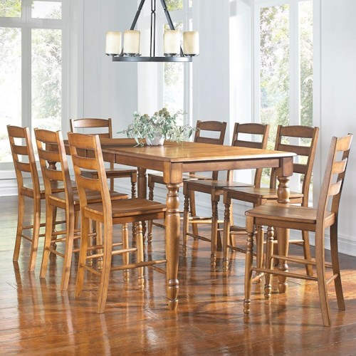 aamerica roanoke 9 piece counter height dining table stool set