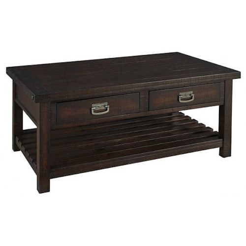 Aamerica Sundance Occ Mission Style Cocktail Table With 2 Drawers Fashion Furniture Cocktail