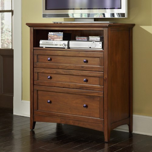 Aamerica Westlake Transitional 3 Drawer Media Chest With Cord Management Wilson 39 S Furniture