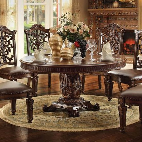 Acme furniture vendome 72 inch round single pedestal for Dining room table 72
