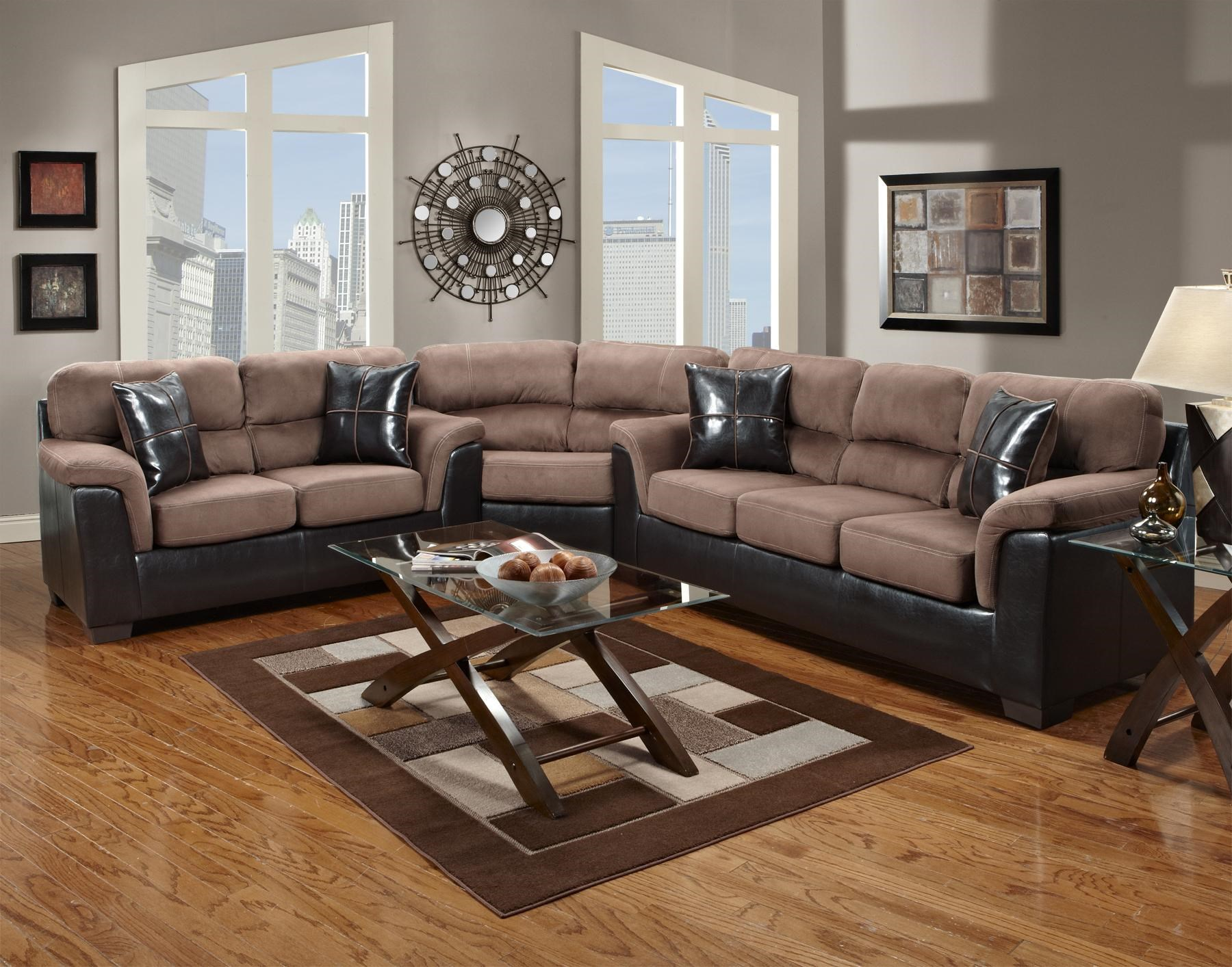 Fabric Faux Leather Sectional with Wedge 6200 by