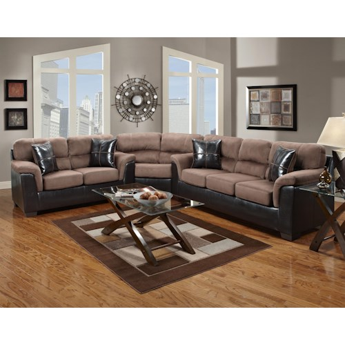Fabric Faux Leather Sectional With Wedge 6200 By Affordable Furniture Wil