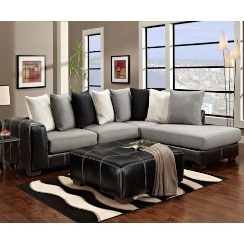 Affordable furniture 6350 two piece sectional with chaise for Affordable home furnishings