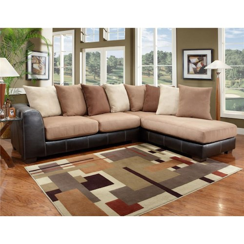 Two piece sectional with chaise 6350 by affordable for Affordable chaise sofas
