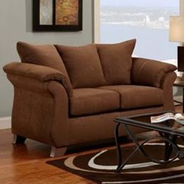 Transitional Flared Pillow Arm Stationary Loveseat 6700