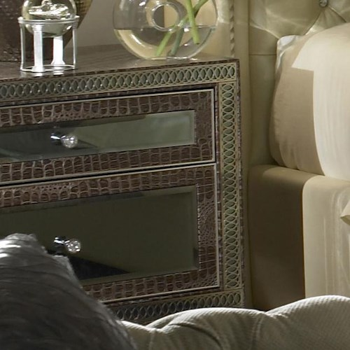 Hollywood Swank Upholstered Nightstand W 2 Drawers