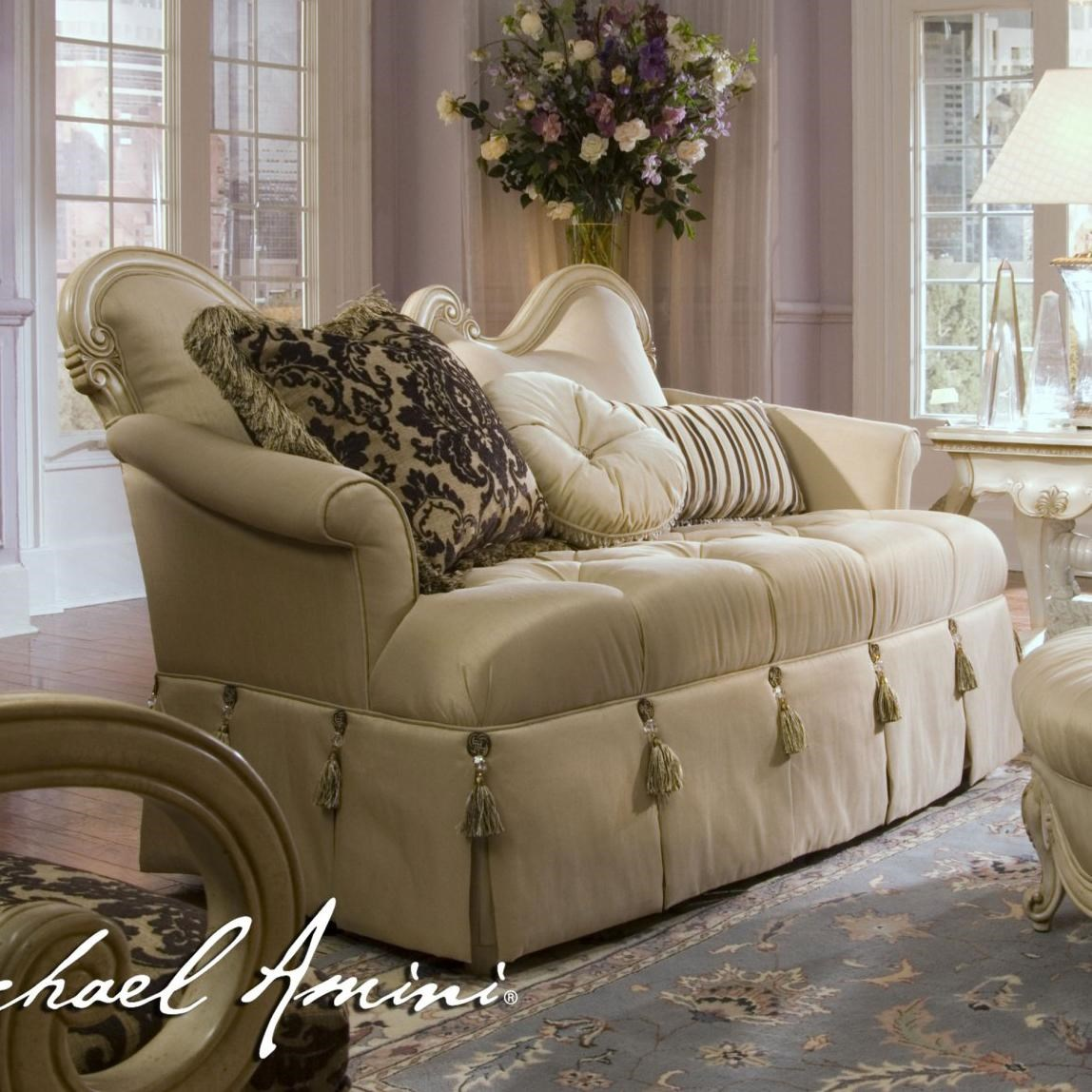 Michael Amini Furniture Store Locations Michael Amini Lavelle Wood Trim Settee with Fringe Accents ...