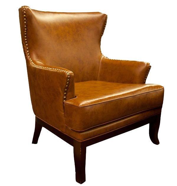 Aif Trading Group Cognac Accent Chair W Nailhead Ivan