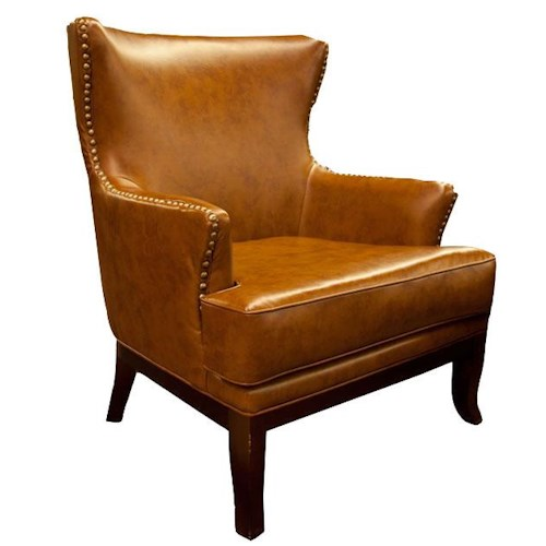 Aif trading group cognac accent chair w nailhead ivan for Ivan smith furniture