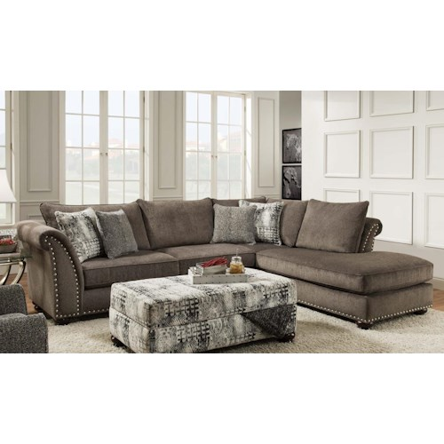 Albany 390 two piece sectional van hill furniture sofa for Classic furniture new albany in