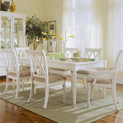 American drew camden light 7 piece formal dining set for Light colored dining room sets