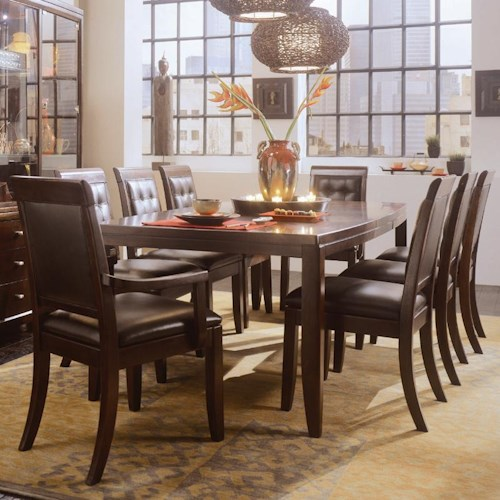 American Drew Tribecca 9 Piece Leg Table Leather Chair Set Northeast Factory Direct Dining