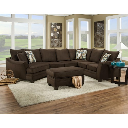 American furniture 3810 sectional sofa that seats 5 with for Sectional sofa furniture fair