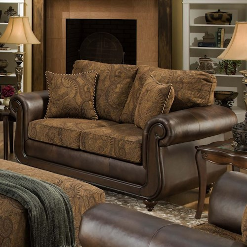 American Furniture 5850 Loveseat With Exposed Wood And Classic Style Beck 39 S Furniture Love