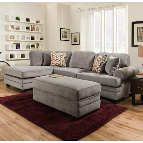 American Furniture 7000 Three Seat Sectional Sofa With Rounded Arms Prime Brothers Furniture