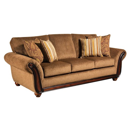 American Furniture 5650 Sofa With Wood Face On Arms Furniture Fair North Carolina Sofas